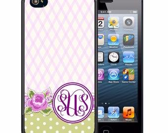 Monogrammed Rubber Case For iPhone X, 8, 8 plus, 7, 7 plus, 6s, 6s plus, 5, 5s, 5c, SE - Light Purple Flower