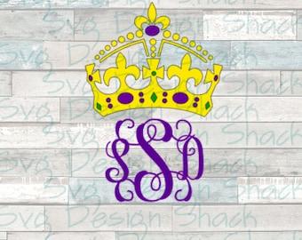 Mardi Gras Crown Monogram Frame SVG, DXF, EPS, Studio 3, Png