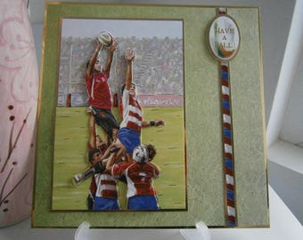 Handmade 7x7 Have a Ball Rugby Birthday Card