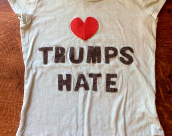 Love Trumps Hate girls t-shirt size 10-12