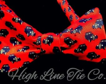 Street Rod Self-tie bow tie made from a vintage necktie. One-of-a-kind bow tie