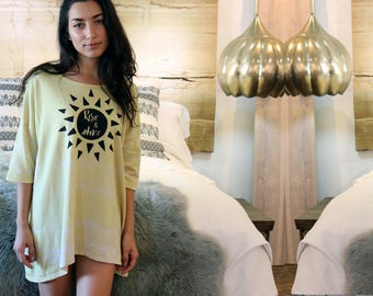 Rise and Shine Maya Pajama Shirt - Oversized Shirt - Boho Sleep Shirt - One Size Fits Most - Yellow Night Shirt - Women's Loungewear
