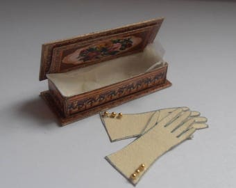 Dollhouse Miniature Glove box with gloves