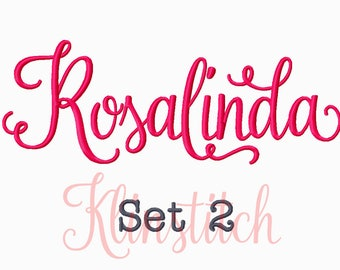 50% Sale!! Set 2 Rosalinda Embroidery Fonts 5 Sizes Fonts BX Fonts Embroidery Designs PES Fonts Alphabets - Instant Download