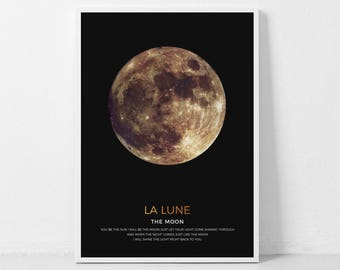 Gold Moon Wall Art, Gold La Luna, Golden Moon, Moon Phases Art Print, Moon Poster, Large Wall Art, Moon Printable Art, Lunar Art Print Moon