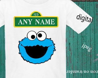 Any Name, Sesame Street, Birthday Shirt Iron On Transfer, Sesame Street Iron On Transfer, Sesame Cookie Transfer, Digital File Only, Jpeg