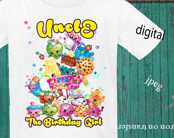INSTANT DOWNLOAD, Shopkins Iron On Transfer, Shopkins Birthday Shirt, Shopkins Transfer, Shopkins Party, JPEG, Uncle