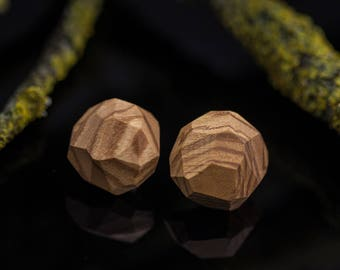 Wooden earrings - Faceted earrings - Contemporary stud earrings - Round earrings - Half sphere stud earrings