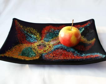 Fused Glass plate, Decorative plate, Fusing plate, Bowl, Kitchen decor, Home decor, Plate for fruit, Gift.