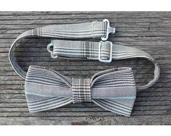 Beige tartan cotton bow tie