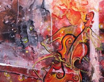 The Cellist, Print (Acrylic Abstract Painting, Multiple Sizes Available)