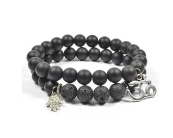 Indian Onyx and Lava Rock Hamsa Bracelet Set