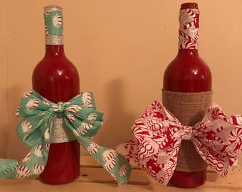 Wine bottle decor, peppermint wine bottle centerpieces