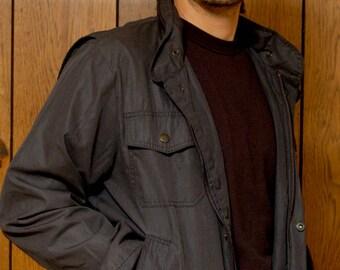 80s Men's Vintage Hooded Black Jacket STRATOJAC