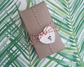 Personalised set of 5 Handmade Clay heart initial gift tags