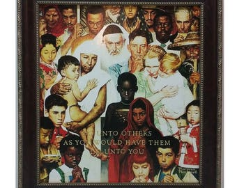 Do on To Others Norman Rockwell Art framed picture