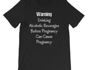 Warning Alcoholic Beverages Short-Sleeve Unisex T-Shirt