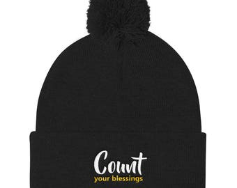Count your blessings Pom Pom Knit Cap