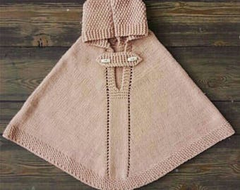 Kuzzy Design Girl Baby Hand Knit Poncho,Hand Knit Poncho,1/2/3/4/5 years