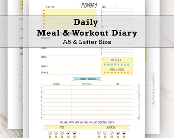 Daily Meal Planner, Workout Planner, Meal Planner, Diet Diary, Diet Planner, Diet Journal, Weight Loss Diary, Exercise Tracker, Fitness Plan