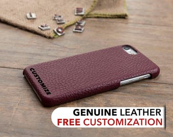 iPhone 8 Leather Case, iPhone 8 Case, iPhone 8 Cover, Genuine Leather iPhone 8 Case, iPhone 8 Sleeve, iPhone Case, Customized Case, Burgundy