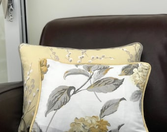 Laura Ashley Handcrafted Piped Cushion Cover in Hydrangea Camomile – various sizes, with or without pad.