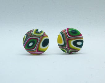 Polymer Clay Round Stud Earrings Ultra Violet Light Fashion Z111
