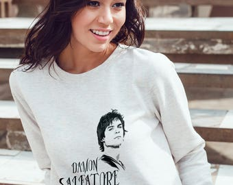 Vampires Diaries Sweatshirt - Damon Salvatore Sweatshirt #R