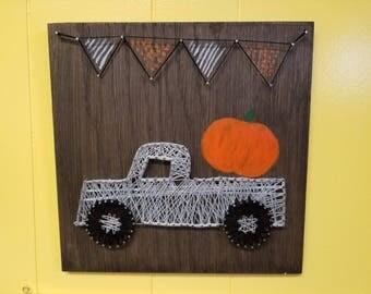 Truck pumpkin string art