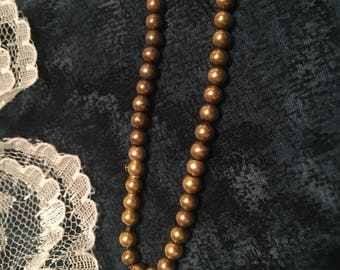 Vintage gold plated bead necklace simple stylish