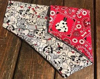101 Dalmatians Slip On Dog Bandana - black and white dog bandana- reversible dog bandana- over the collar dog bandana
