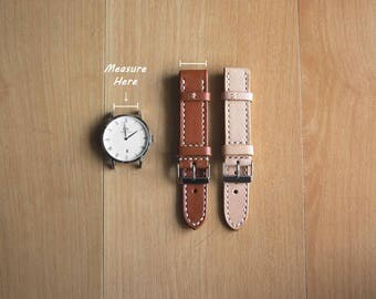 Vegetable tanned leather watch strap bands man fashion patina