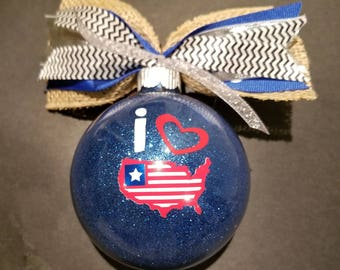 Christmas Ornament - Patriotic USA 3.25 Glass (can order in several colors of course featuring red, white, and blue)