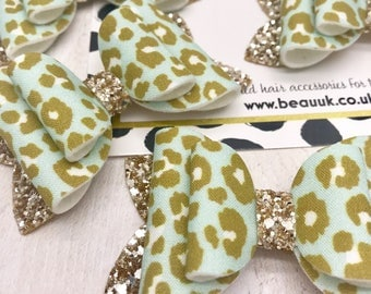 Pastel mint leopard gold glitter print fabric & glitter Medium hair bow clip headband hair accessories nylon hair piece