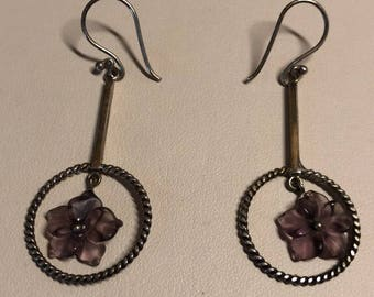 dangling purple flower earrings