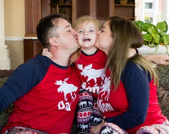 Christmas Pajamas Family Matching , Reindeer Pajamas, Customized Pajamas, Personalized Christmas Pajamas, Deer Print Christmas Pajamas