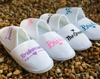 SALE Personalised Wedding Slippers, Bridesmaid Slippers, Bride Slippers, Bridal Party Slippers, Maid of Honor Slippers, Bridesmaid Gift