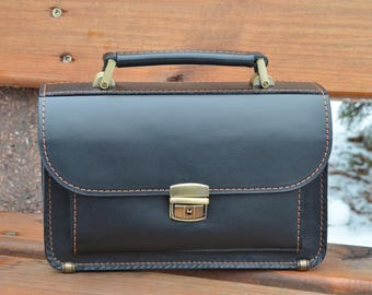 Black leather handbag leather organizer leather bag handmade leather bag men leather bag