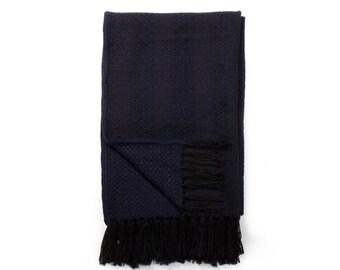 Alpaca scarf knitted - dark blue
