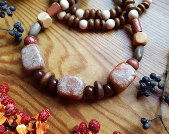 Chinese Unakite Stone/Crystal and Wooden Beaded Necklace