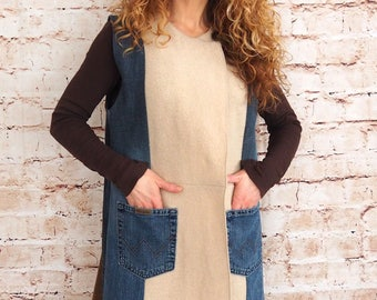 Denim sheep-upcycled unique-elegant – jeans wool vest