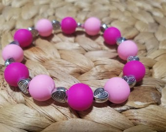 pink beads with silver plated heart