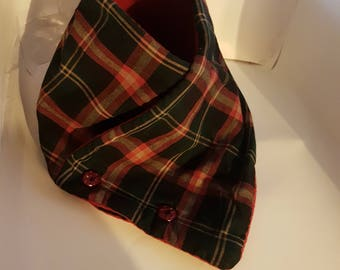 Red plaid cowl scarf