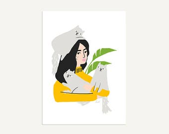 Cat Lady A5 Printed Artwork