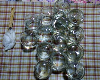Antique Glass suction cups for treatment procedures, 1937, set of 14