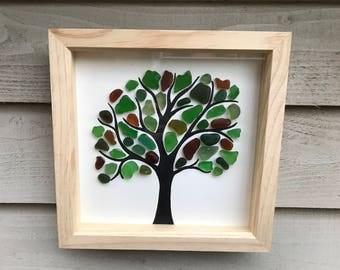 Framed Seaglass artwork - Large tree