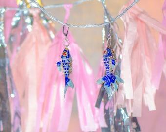Koi Fish Dangle Drop Earrings