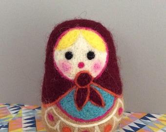 Small decorative matryoshka felted