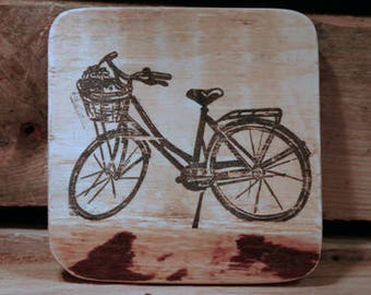 Set of 4 wooden coasters - Ladies vintage bike