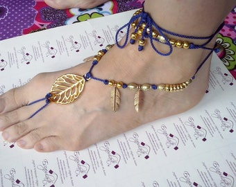 Pajeb (ankle anklets) with feathers and leaf